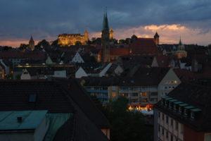 Die Burg in Nürnberg bei Nacht